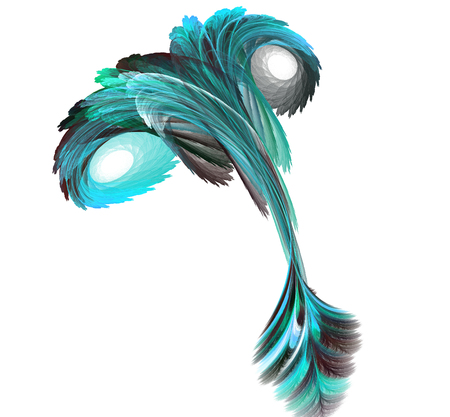 Abstract fractal illustration of spiral fabulous bird isolated over white. Art fantastic fractal spiral scrolling texture in the form of feathers. Stock Illustration - 113444196