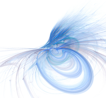 Abstract fractal illustration of spiral fabulous bird isolated over white. Art fantastic fractal spiral scrolling texture in the form of feathers. Stock Illustration - 113444219