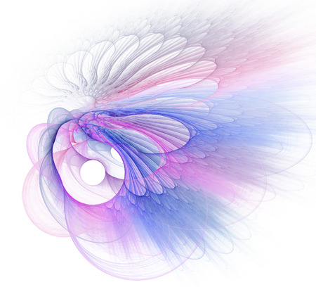 Abstract fractal illustration of spiral fabulous bird isolated over white. Art fantastic fractal spiral scrolling texture in the form of feathers. Stock Illustration - 115984905