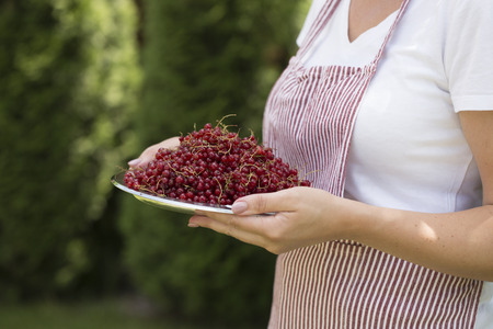 Young woman holding bowl filled Red currant. Crockery with currant in woman hands.