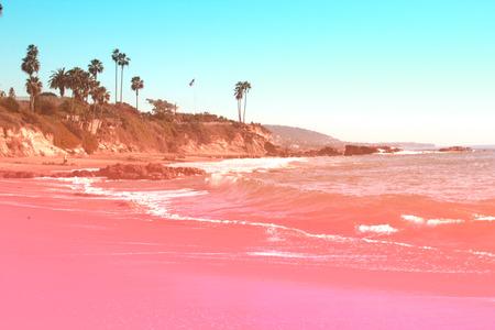 Beach Laguna Beach California USA.Toned turquoise, coral colors. Tropical summer holiday concept,