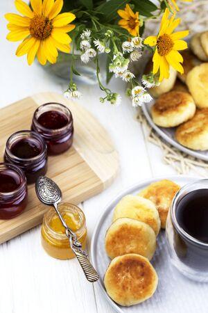 Cottage cheese pancakes, syrniki. Gourmet Breakfast.homemade traditional Ukrainian and Russian syrniki