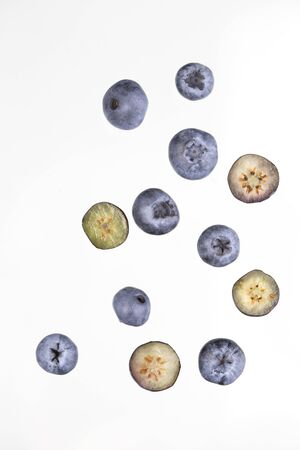 Fresh blueberry background. Texture blueberry berries close up. Blueberry antioxidant. Concept for healthy eating and nutrition