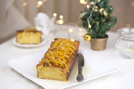 Orange cake. Homemade orange bundt cake. Christmas and Winter Holidays homemade cake