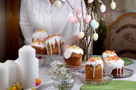 Homemade Easter Cake for Easter celebrating. Fresh Easter cake kulich (Easter bread paska paskha)