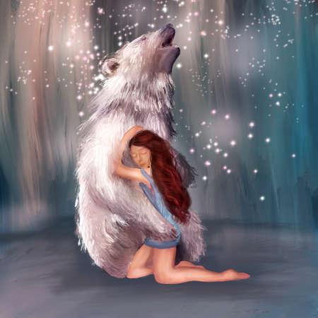 illustration of a beautiful girl hugging a bear. Best friend Stock Photo