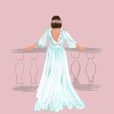 Young beautiful bride in dress. Hand-drawn fashion illustration. Sketch