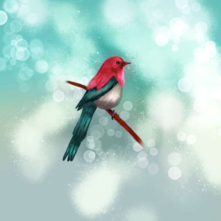 illustration of abstract bird on a branch. Bird on a branch in springtime