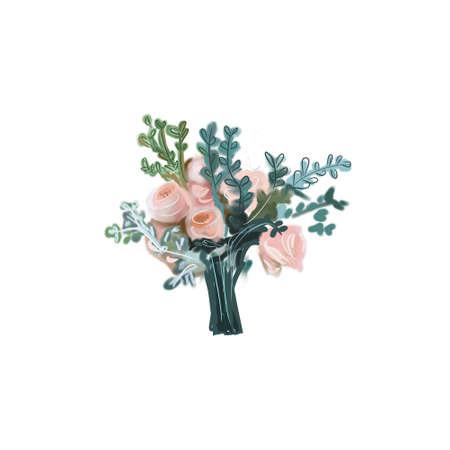 wedding bouquet. Bridal bouquet. Digital illustration isolated on white background.