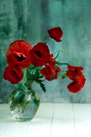 Bouquet of red poppy flowers in glass vase. Toned image. Copy space. Holiday background