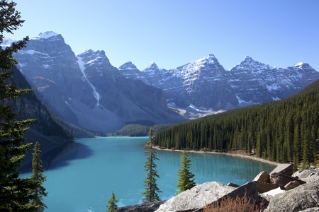 Picturesque Lake Morraine, Alberta, Canada Stock Photo