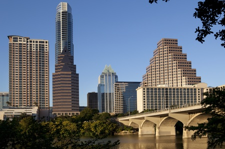 Austin Texas Skyline Showing South Congress Bridge Stock Photo
