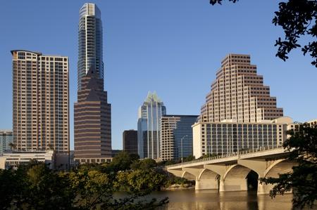 texas state: Austin Texas Skyline Showing South Congress Bridge Stock Photo