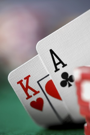 ace hearts: Close-up of Ace and King Playing Cards