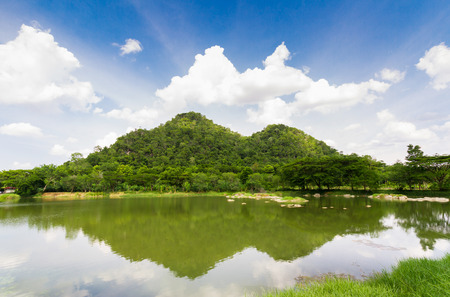 Sky river mountain with cloud in nature landscape