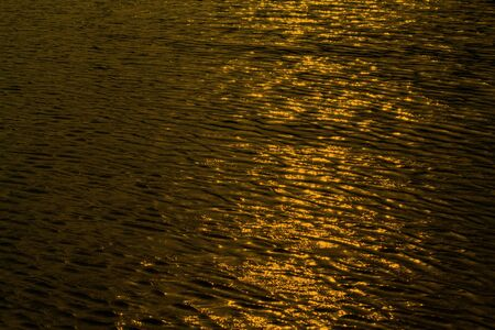 Rippling gold water surface in swimming pool, water river for background Stock Photo
