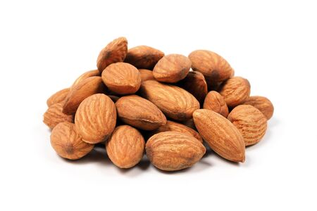 Almond seeds isolated on white background.