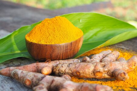 Turmeric powder and fresh turmeric with green leaf in wooden bowl on old wooden table. herbal