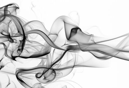 Black and white smoke abstract on white background, fire design