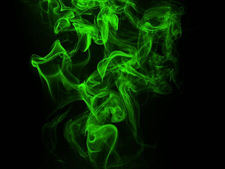 Green Smoke abstract background and darkness concept