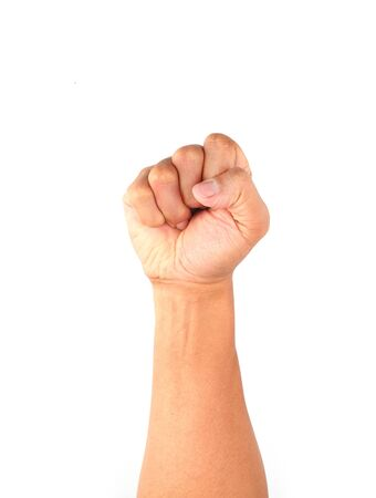 clinched fist raised up isolated on white background