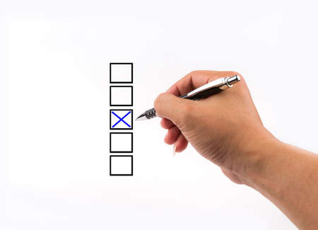 different columns with checkboxes, voting with ball pen by tick