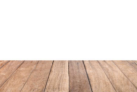 Empty vintage brown wood table top on white background. for montage of your product design