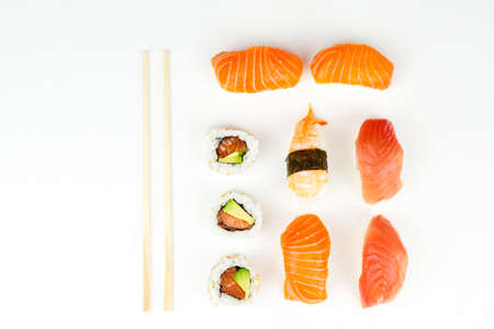sushi. Food abstract background. Sushi on the white background. Closeup of delicious japanese food with sushi roll.