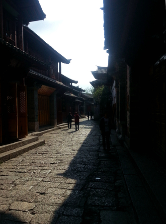 Lijiang wooden house at street Stock Photo