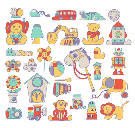 stuff toys: Toy Doodle Illustration Illustration