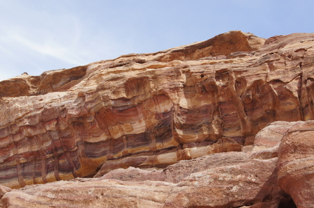 Beautiful natural created colorful rock in the Petra. Jordan.