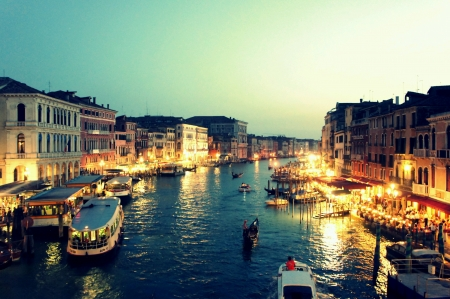 rialto bridge: Romantic Grand Canal Sunset View from Rialto Bridge Venice Italy  Stock Photo