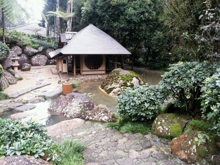 bukit: Japanese Garden in Bukit Tinggi  Stock Photo