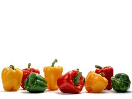 Rote, grüne und gelbe Paprika isolated on white Studio background Standard-Bild - 5413083