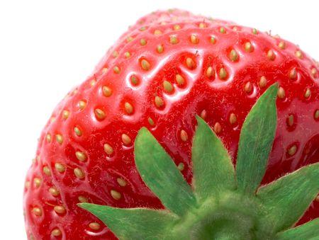 Makro Bild der Reife Erdbeere auf weißen Studio hintergrund isoliert Standard-Bild - 5412988