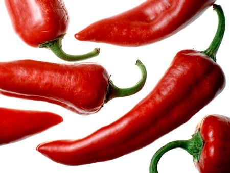 Rote italienische Paprika (Capsicum Annuum) isolated on white background Standard-Bild - 6355404