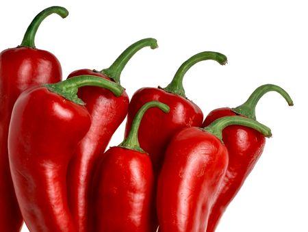 Red italienischen Gemüsepaprika (Capsicum Annuum) auf weißen Hintergrund isoliert Standard-Bild - 6355408