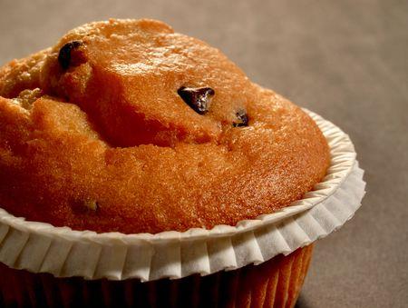 Nahaufnahme der leckeren Schoko Muffin grau hintergrund Standard-Bild - 6551051