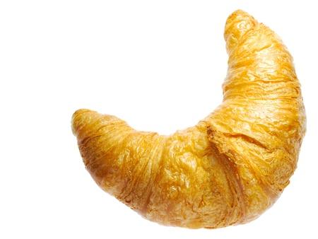 Einzelne golden Croissant isoliert auf weiß Studio Hintergrund Standard-Bild - 9072866