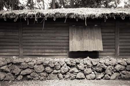 korean style house: old style Korea house made by nature materails such as wood and stone. Stock Photo