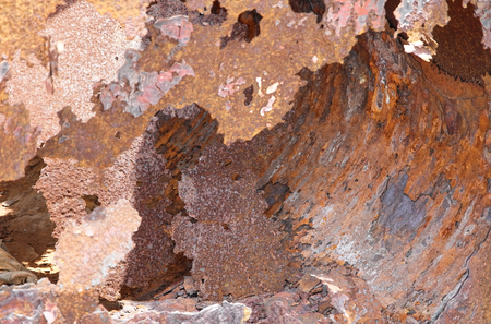 putrefy: a piece of iron plate become rust because of the sea wind and sea water Stock Photo