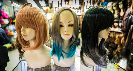 the half mannequin with different hair color on