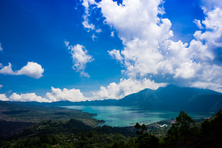 the widest lake called Batur at the feet of mount Batur in Bali