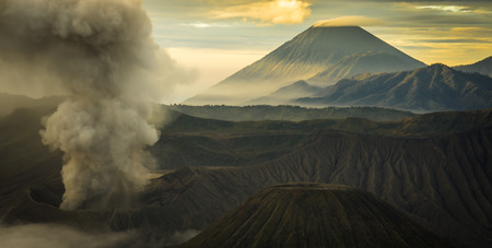 soot: the beautiful  mountaintop and crater of mount Bromo in Indonesia that still active Stock Photo
