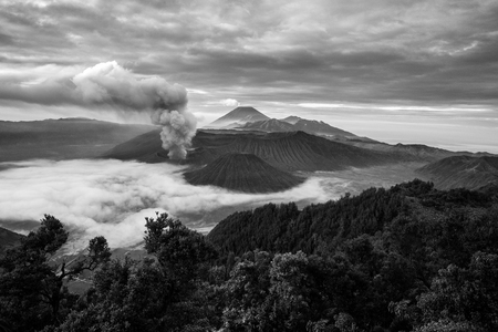 soot: the black and white look of volcanic mountain Bromo in Indonesia Stock Photo