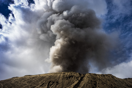 the top of volcanic crater of mount Bromo in Indonesia