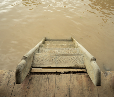 The ladder that made from cement using mostly in the river 스톡 콘텐츠