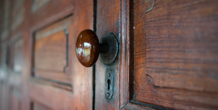 Thai style house with a beautiful handle and old key hole