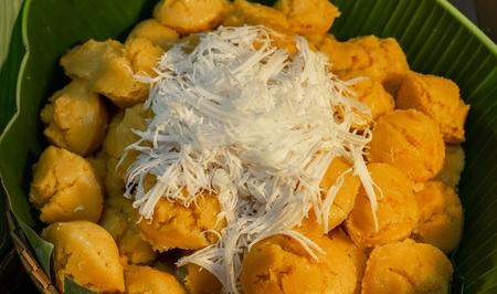 Thai sweets made from coconut and palmyra. Фото со стока
