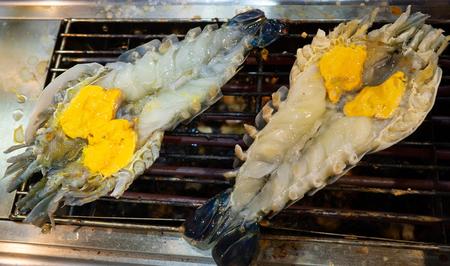 fresh water shrimp fried on the bar-B-Q stove Stok Fotoğraf